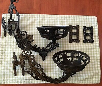 Antique Pivoting B & H  Oil Lamp Wall Bracket And Cast Iron Companion
