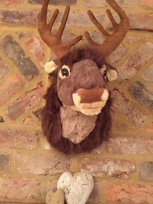 Motion Activated Singing Reindeer Head Xmas Hanging Soft Plush Stag Dec 40cm