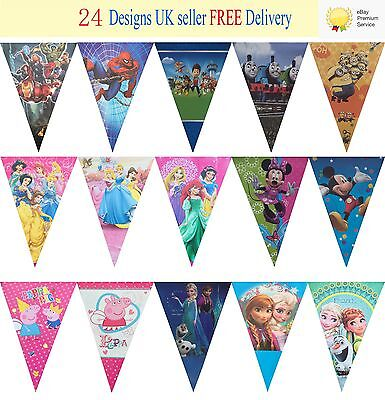 Lot New Peppa Pig  Banner Birthday Party Theme Decoration 1 Set 2.5m 10 Flags