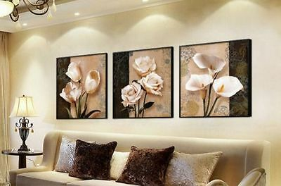 Framed Home Decor Art Painting Print on Canvas Orchid Flower Modern Picture 3p