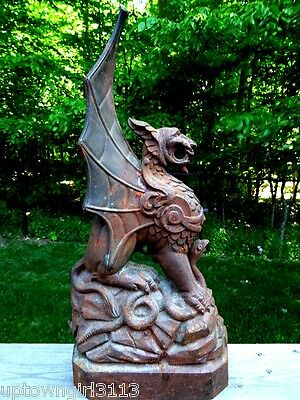 GOTHIC salvaged GRIFFIN 19thC CAST IRON horse hitching post topper WARD off EVIL