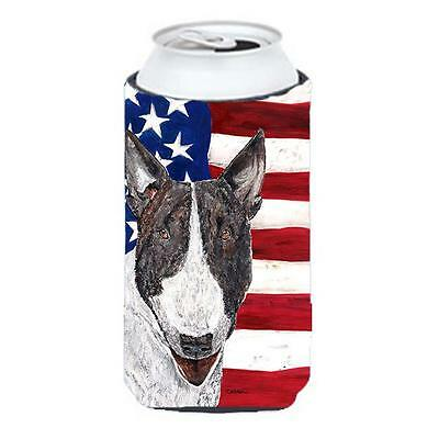 Carolines Treasures Bull Terrier Usa American Flag Tall Boy bottle sleeve Hugger