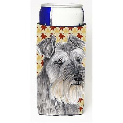 Schnauzer Fall Leaves Portrait Michelob Ultra bottle sleeve for Slim Can