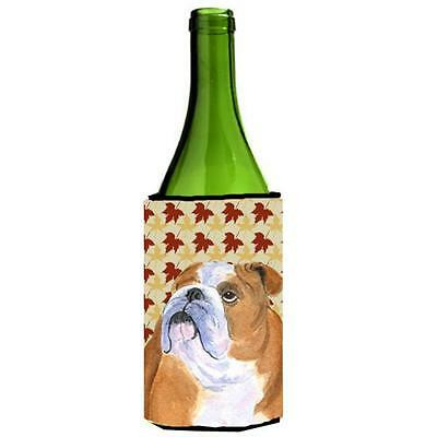 Bulldog English Fall Leaves Portrait Wine bottle sleeve Hugger