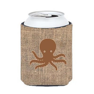 Carolines Treasures Octopus Burlap And Brown Can Or Bottle Hugger