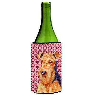 Airedale Hearts Love And Valentines Day Portrait Wine bottle sleeve Hugger 24...