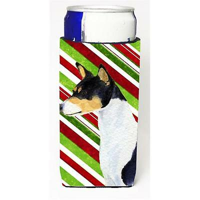 Basenji Candy Cane Holiday Christmas Michelob Ultra bottle sleeves For Slim C...