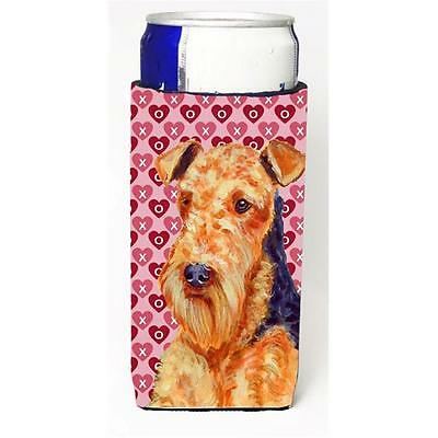 Airedale Hearts Love And Valentines Day Portrait Michelob Ultra bottle sleeve...