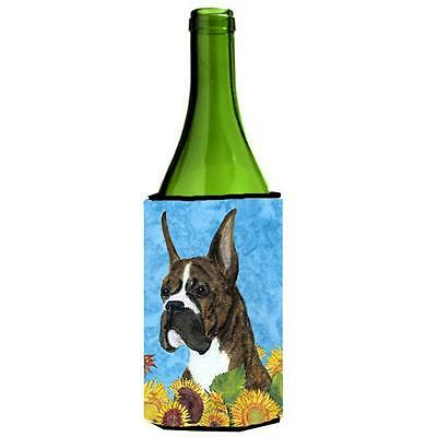 Carolines Treasures Boxer In Summer Flowers Wine bottle sleeve Hugger 24 oz.