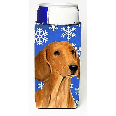 Dachshund Winter Snowflakes Holiday Michelob Ultra bottle sleeves for slim ca...