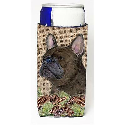 French Bulldog On Faux Burlap With Pine Cones Michelob Ultra bottle sleeve fo...