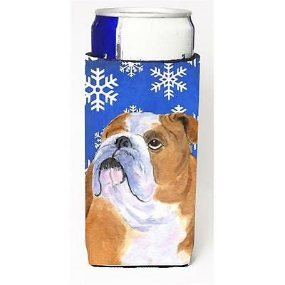 Bulldog English Winter Snowflakes Holiday Michelob Ultra bottle sleeves for s...