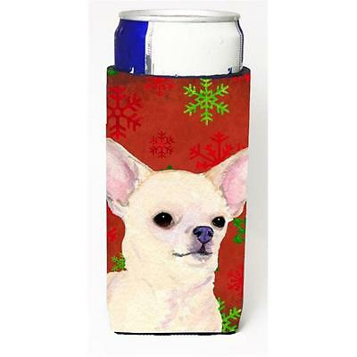 Chihuahua Red And Green Snowflakes Holiday Christmas Michelob Ultra bottle sl...