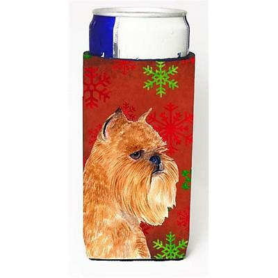 Brussels Griffon Red And Green Snowflakes Holiday Christmas Michelob Ultra bo...