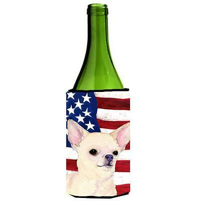 Carolines Treasures Usa American Flag With Chihuahua Wine bottle sleeve Hugger