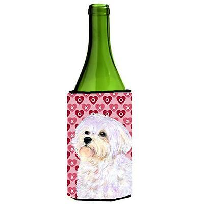 Maltese Hearts Love And Valentines Day Portrait Wine bottle sleeve Hugger 24 oz.