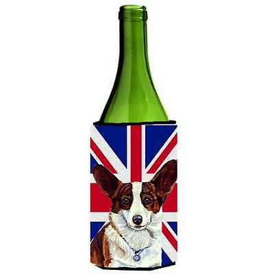 Corgi With English Union Jack British Flag Wine bottle sleeve Hugger 24 Oz.