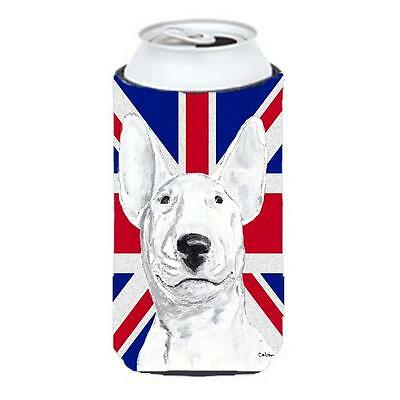 Bull Terrier With English Union Jack British Flag Tall Boy bottle sleeve Hugg...