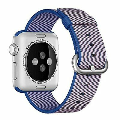 Woven Nylon Band Strap 38mm Blue Replacement Accessory for Apple Watch iWatch
