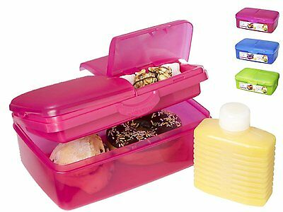 Sistema Lunch Collection Slimline Quaddie Lunch Box Container, 50.7 - Red/Pink