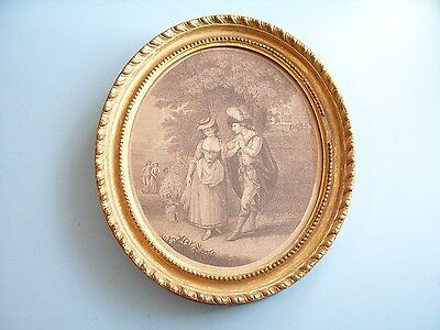 "SMALL ANTIQUE C18th GEORGIAN PRINT ""PALEMON & LAVINIA"" ORIGINAL GILT FRAME C1790"