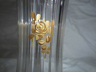 A pair of small fluted flared rim crystal vases with gold enamel gilt flowers