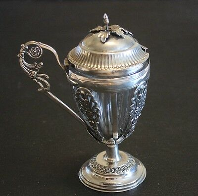 Antique French Sterling Silver Neo Classical Crystal Mustard Pot
