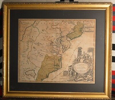 ANTIQUE MAP  - ca. 1730 - VIRGINIA - MARYLAND - CAROLINA - AMERICA - J.B. HOMANN