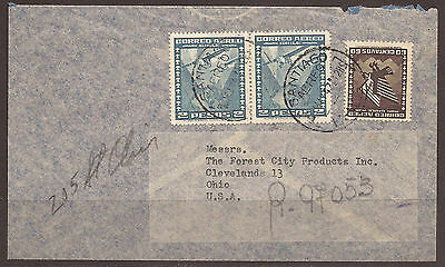 Chile. 1947. Registered Airmail Cover To Ohio. Arrivals On Reverse. Registration