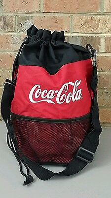 Coca Cola Red Drawstring Tote Bag, Zippered Pocket, Insulated Bottom Cooler NICE