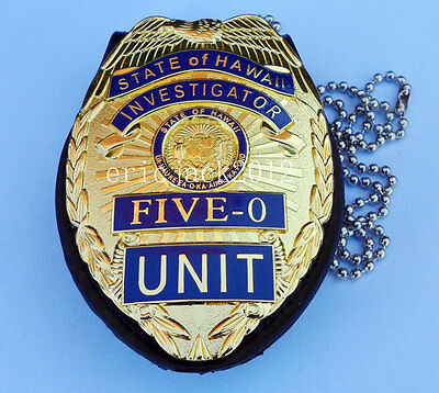 Hawaii Five-0 Badge Hawaii 5 0 Badge & Chain Belt Leather Badge Holder-D1040