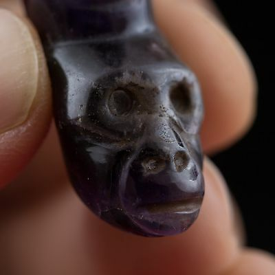 Pre Columbian Style Amethyst Stone Monkey Amulet Pendant-Antique-Mayan