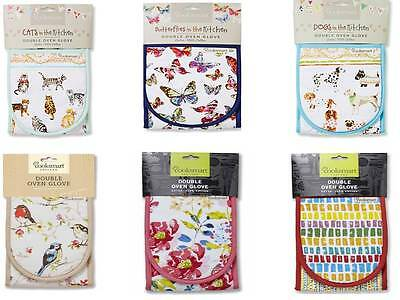 Cooksmart Double Oven Gloves Kitchen 100 % Cotton Cats Dogs Floral Oriential