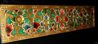 """Balinese Lotus Relief Panel Hand Painted Carved wood wall Architectural Art 59""""L"""