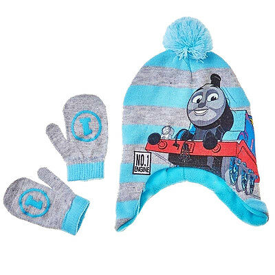 THOMAS the TANK ENGINE TRAIN Fleece-Lined Trapper Beanie Hat &Mitten Set NWT $20