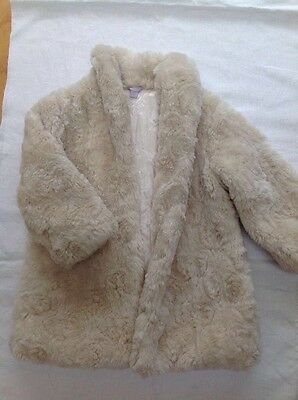 cream Monsoon girls faux fur coat age 3 -4
