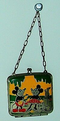 Mickey & Minnie Mouse W/ Pluto Coin Purse Enameled1930s Disneyana