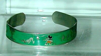 Mickey & Minnie Mouse W/ Pluto Enameled Bracelet (Green) 1930s Disneyana