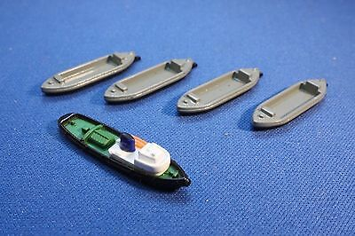 Diesel Tug and four  Barges unboxed mint from Triang Minic Ships 1 1200 scale