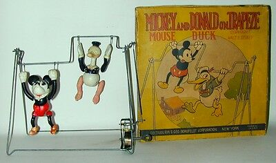 Mickey Mouse Donald Duck Celluloid Acrobat Toy in Original Box 1930s Japan