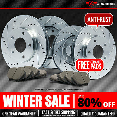 (FRONT & REAR KIT) (SILVER ZINC) Slotted & Drilled Rotors AND Ceramic Brake Pads