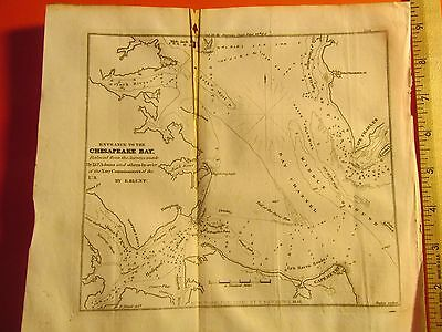 Antique Vintage Old 1841 Map Nautical Maritime Chart Chesapeake Bay MD