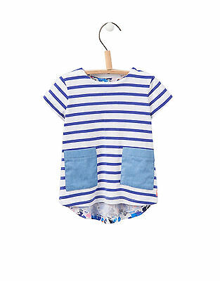 Joules Infant Hotch Potch Short Sleeve Top - Pool Blue Stripe