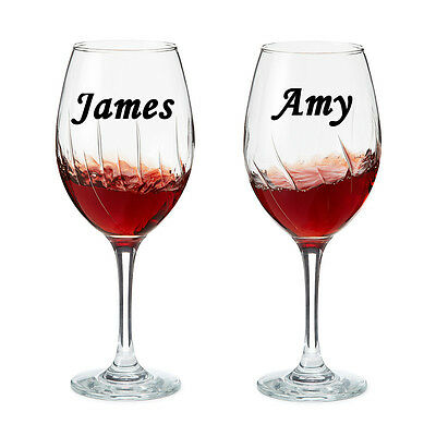 2 X PERSONALISED NAME Wine Glass Sticker Wedding Art Valentines Day Made in UK 1