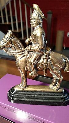 Antique Finely Cast Heavy Brass Military Door Stopper/Bookend