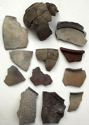 "Prehistoric Pottery Sherd Lot of 12, 3-6"" - Plainware, Corrugated, California/NM"