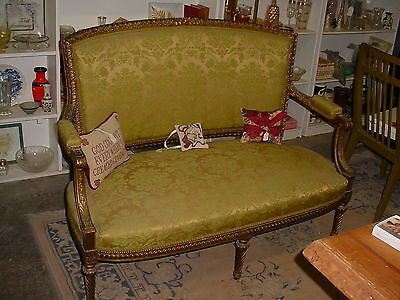 Green Gold Gilted Brocade upholstered French Settee Wood Carved or Gesso deco