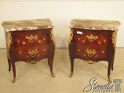 28281E:  Pair of French Louis XIV Inlaid Marble Top Nightstand Commodes