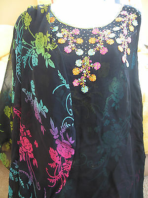 Embroidered floral ethnic Tunic and shawl scarf 12 - 14  uk