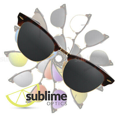POLARIZED Black (Grey) Replacement Lenses for Ray Ban Clubmaster 51mm RB3016